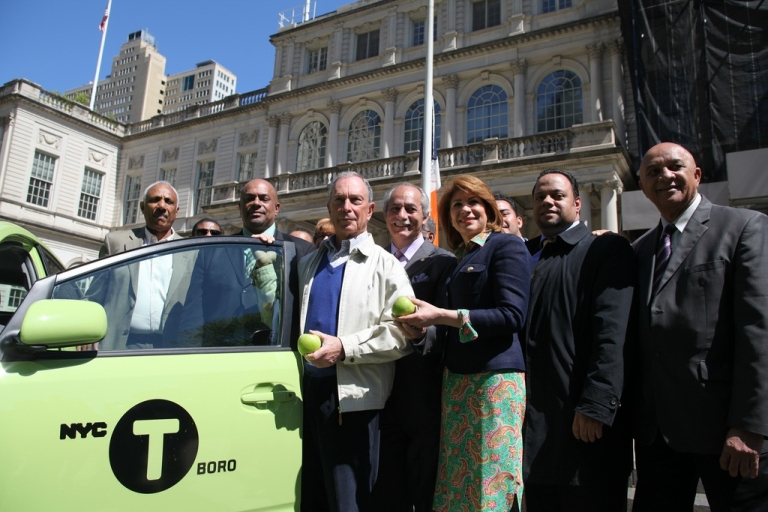 <p>New York Mayor Michael Bloomberg unveils the official color of the new Boro Taxis with TLC Commissioner David Yassky on April 29, 2012.