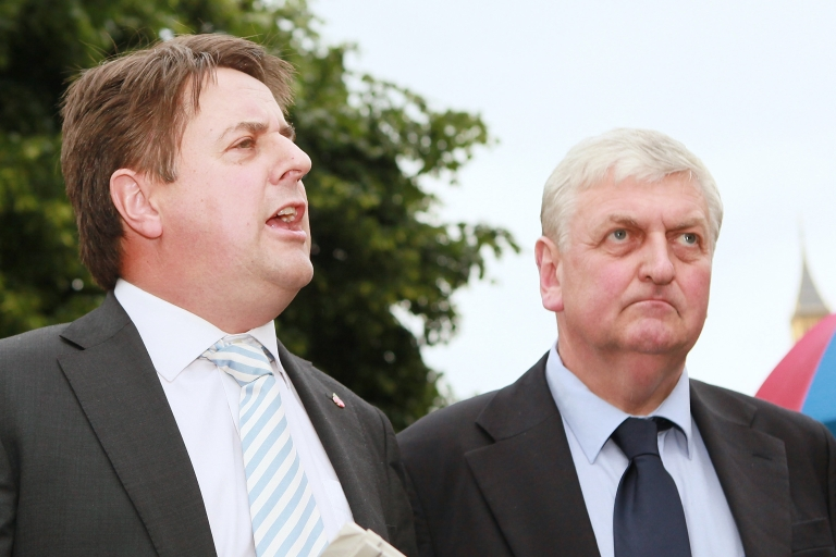 <p>The BNP's Nick Griffin (L) and former colleague Andrew Brons.</p>