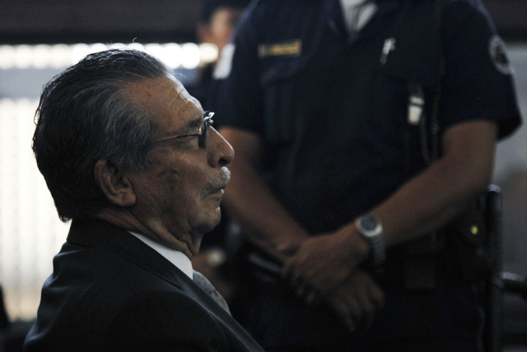 <p>Retired General and former de facto President Jose Efrain Rios Montt is seen in a court in Guatemala City on January 26, 2012, during a hearing for a case for human rights abuses committed during the 36-year civil war.</p>