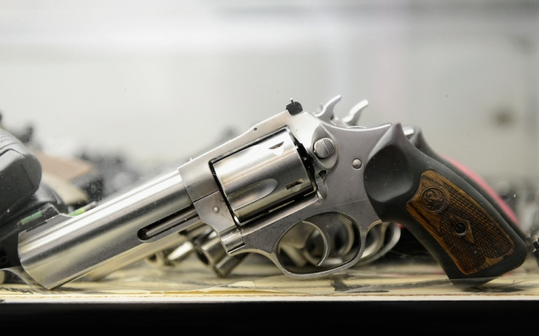 <p>A Smith &amp; Wesson .357 magnum revolver is displayed for customers to rent at the Los Angeles Gun Club on December 7, 2012 in Los Angeles, California.</p>