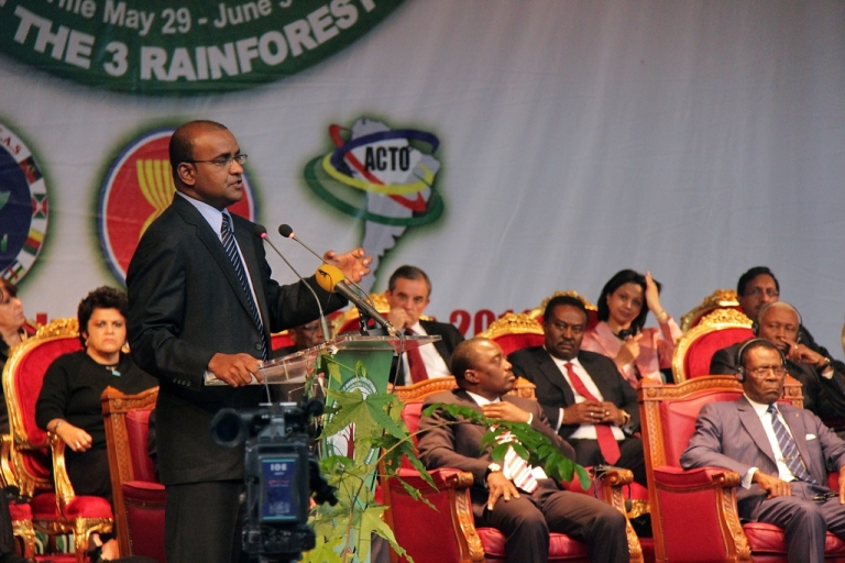 <p>One Love: that's politics in Guyana. Above, the current president, Bharrat Jagdeo, in June 2011.</p>
