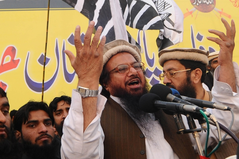 <p>Hafiz Saeed, the founder of the militant group Laskar-e-Taiba, speaks during a protest rally in Lahore, Pakistan on December 18, 2011. The US has placed a $10 million bounty on Saeed, as of April 3, 2012.</p>