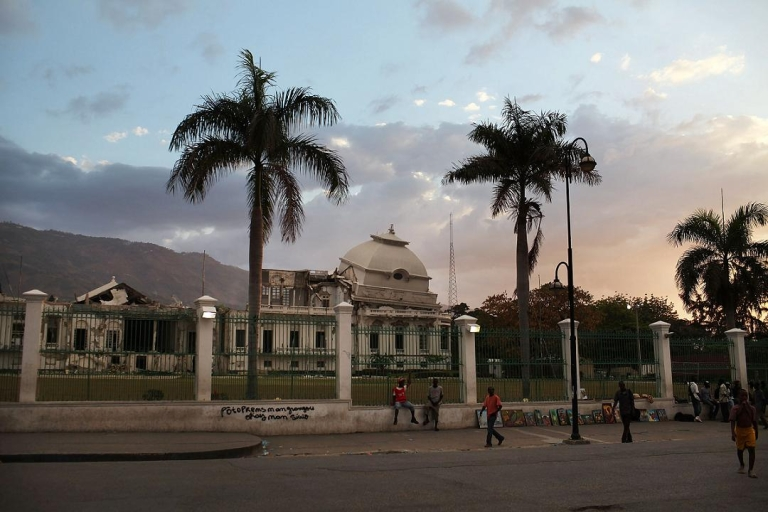 <p>The presidential palace in Port-au-Prince is pictured on Mar. 8 during tensions over the current presidents nationality.</p>