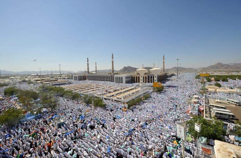 <p>Muslim Hajj pilgrims perform the noon prayers at the Nemra mosque near Mount Arafat. Nov. 5, 2011.</p>
