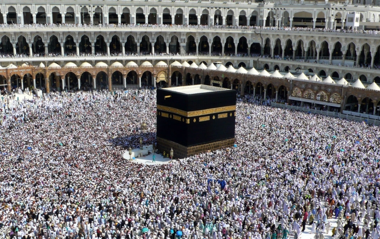 <p>Muslim pilgrims perform the final walk around the Kaaba at the Grand Mosque in the Saudi holy city of Mecca.</p>