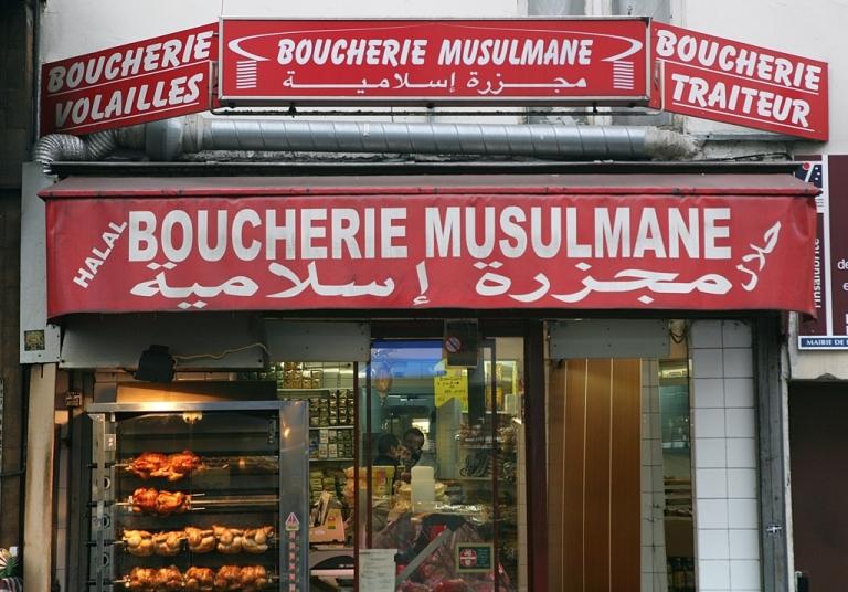 <p>A halal butcher shop in Paris.</p>