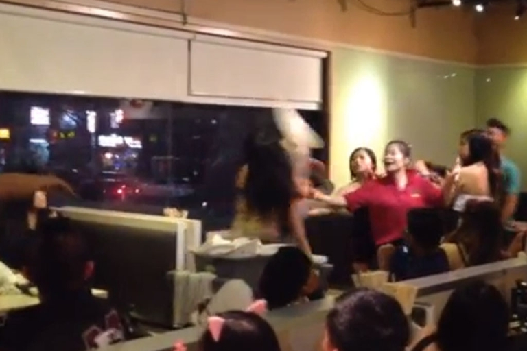 <p>One man is facing assault charges as police comb through this viral video in an attempt to identify suspects in a Halloween Brawl at a Toronto restaurant on October 27, 2012.</p>