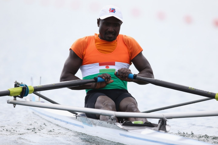 <p>Hamadou Djibo Issaka of Niger competes in the Men's Single Sculls repechage on Day 2 of the London 2012 Olympic Games at Eton Dorney on July 29, 2012 in Windsor, England.</p>