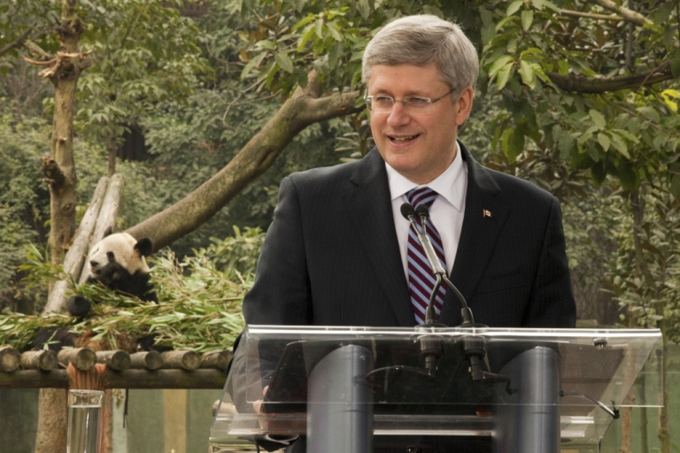 <p>Prime Minister Stephen Harper speaks to reporters at the Chongqing zoo after announcing China is lending two panda bears to Canada.</p>