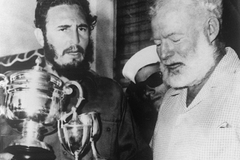 <p>Ernest Hemingway and Fidel Castro after a fishing contest in Cuba in 1960.</p>
