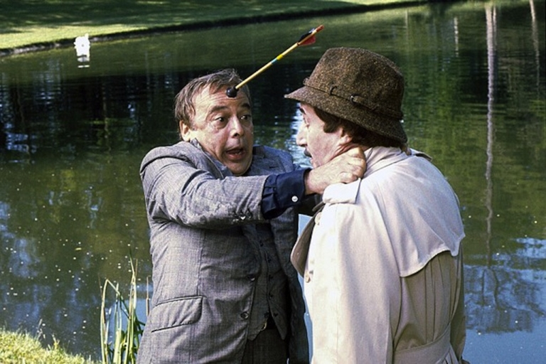 <p>Herbert Lom, left, and Peter Sellers in 'The Pink Panther Strikes Again.' (Bloomberg)</p>