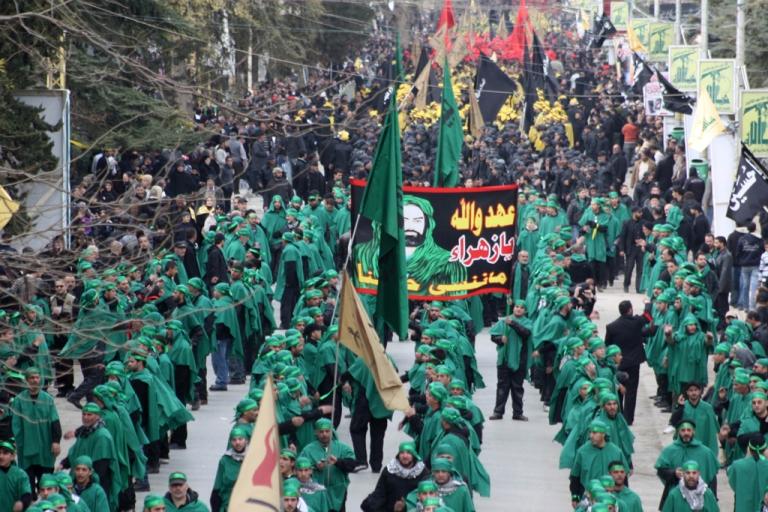 <p>Shiite Muslim pilgrims affiliated to Hezbollah take part in rituals on January 25, 2011, in Baalbek.</p>