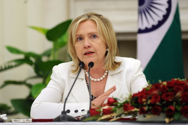 <p>Hillary Clinton addresses the media during a joint press conference in New Delhi on July 19, 2011.</p>