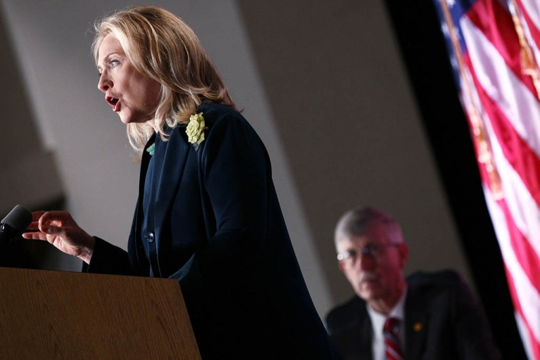 <p>U.S. Secretary of State Hillary Clinton speaks on the future of the global HIV/AIDS epidemic in a speech to the National Institutes of Health November 8, 2011 in Bethesda, Maryland.</p>