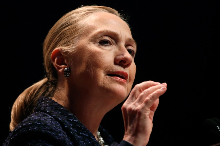 <p>US Secretary of State Hillary Clinton delivers a speech at Dublin City University in the Irish capital on Dec. 6, 2012.</p>