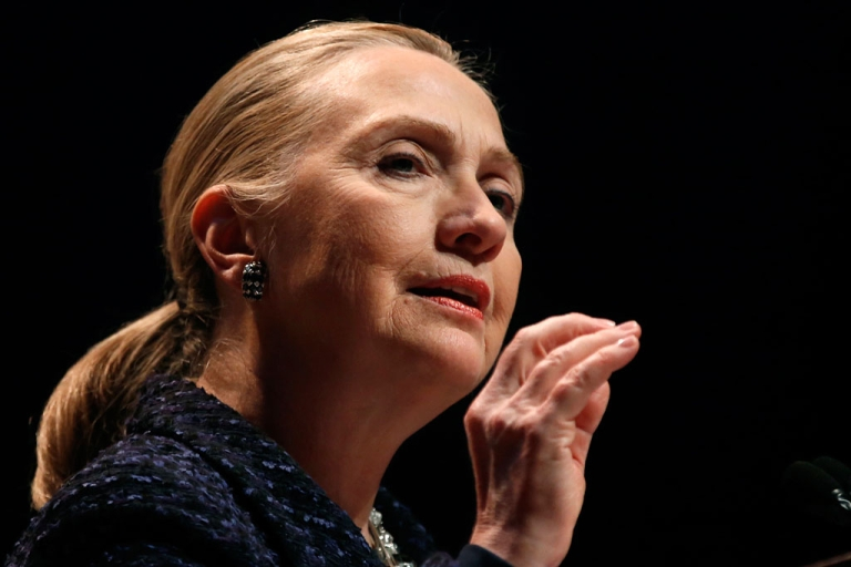 <p>US Secretary of State Hillary Clinton delivers a speech in Dublin, Ireland, on Dec. 6, 2012. While battling a stomach virus, Clinton fainted and received a concussion on Dec. 15, 2012. She's recovering from home.</p>