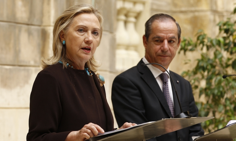 <p>U.S. Secretary of State Hillary Clinton and Maltese Prime Minister Lawrence Gonzi give a press conference on October 18, 2011 in Valletta after their meeting on the situation in Libya. The Mediterranean island state is the closest European country to Libya and has been a center for humanitarian aid efforts and the evacuation of workers from the strife-torn country.</p>