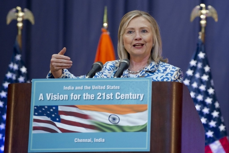 <p>Clinton speaks at the Anna Centenary Library in Chennai on July 20, 2011, where she urged India to play more of a leadership role in Asia.</p>