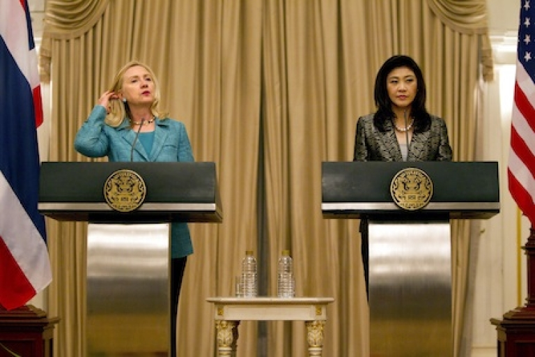 <p>U.S Secretary of State Hillary Clinton meets with Thai Prime Minister Yingluck Shinawatra during a joint press conference November 16, 2011 in Bangkok, Thailand. Clinton is in Thailand to offer support in confronting the country's massive flooding.</p>