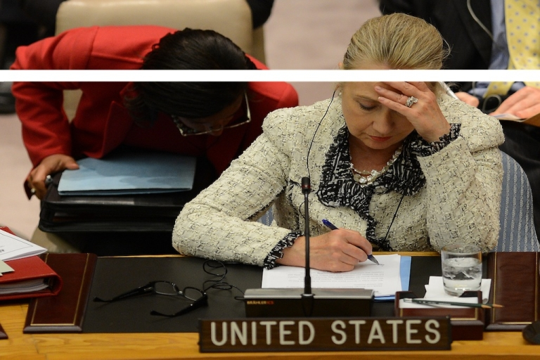 <p>US Secretary of State Hillary Clinton attends a UN Security Council meeting on peace and security in the Middle East and doodles on her remarks.</p>