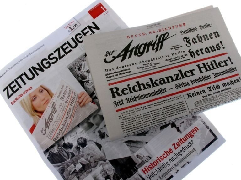<p>The Zeitungszeugen, a newspaper that reprints Nazi-era propaganda, on Jan. 5 published images of the newspaper 'Der Angriff' (The Attack), issued on Jan. 30, 1933. British publisher Peter McGee, who says the Nazi reprints are for educational purposes, is planning to publish excerpts of German dictator Adolf Hitler's virulently anti-Semitic pamphlet