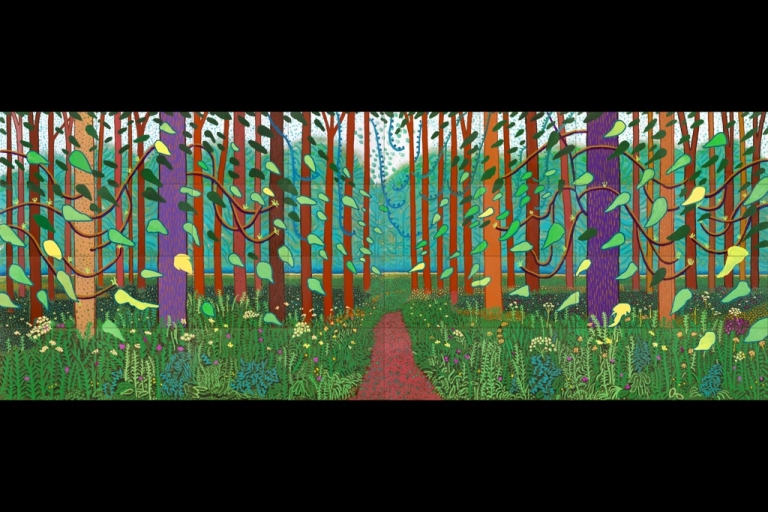 <p>The Arrival of Spring in Woldgate, East Yorkshire in 2011 by David Hockney.  Painted in oil on 32 canvases (each 91.4 x 121.9 cm) It is the culmination of 52 pictures created on the 75 year old artist's iPad.</p>