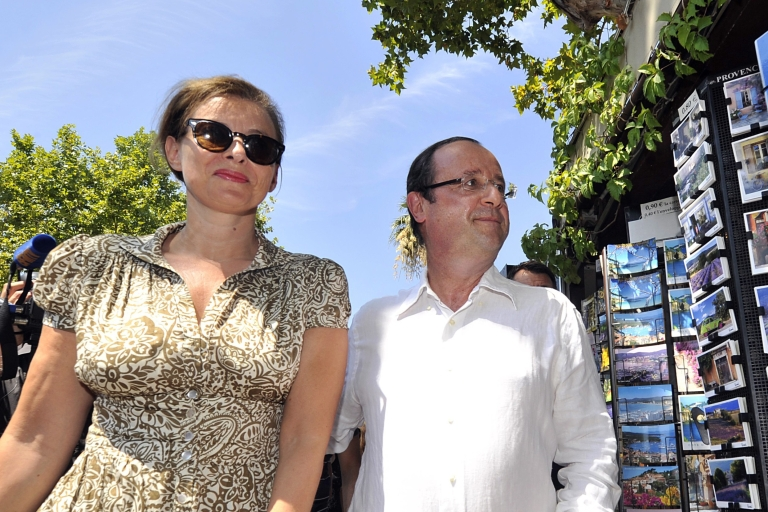 <p>Mr. Normal: François Hollande and his partner Valerie Trierweiler on holiday in southeastern France.</p>