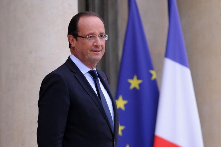 <p>French President Francois Hollande at Elysee Palace</p>