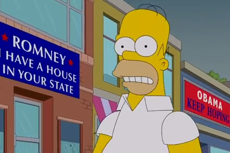 <p>Homer Simpson is torn between Mitt Romney and President Barack Obama heading into the 2012 election.</p>