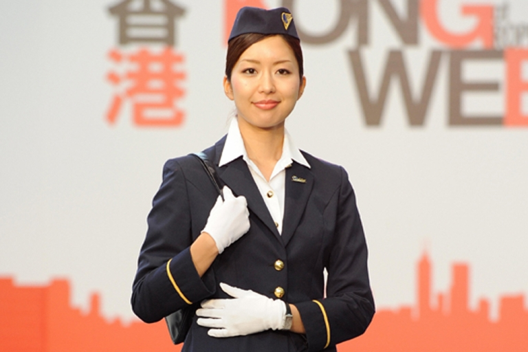 <p>She just looks nice. Hong Kong Airline flight attendants are all being trained in kung fu.</p>