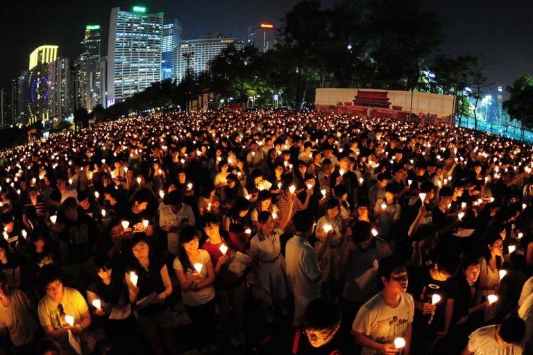 <p>Candlelight vigil in Hong Kong on June 4, 2012 to mark the 23rd anniversary of the crackdown on the pro-democracy movement in Beijing's Tiananmen Square.</p>