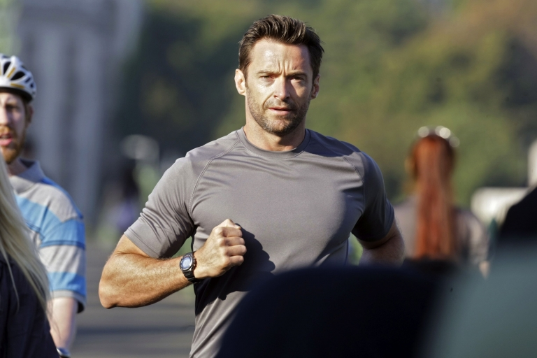 <p>Australian movie star Hugh Jackman runs through Budapest on Sept. 2, 2011, during a commercial film shooting.</p>