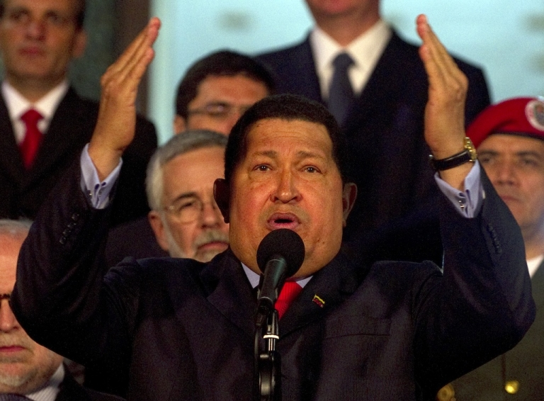 <p>President Hugo Chavez speaks after receiving a Brazilian delegation in the Miraflores presidential palace in Caracas on July 25, 2012.</p>