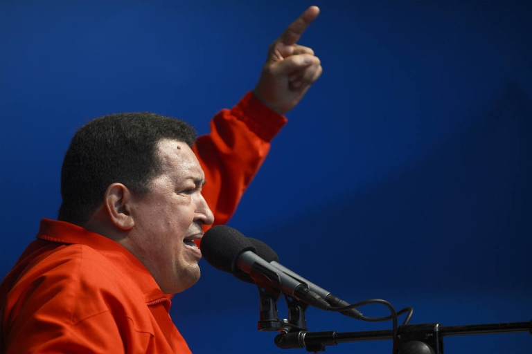 <p>Venezuelan President Hugo Chavez addresses supporters during a campaign rally in view to the upcoming presidential election.</p>