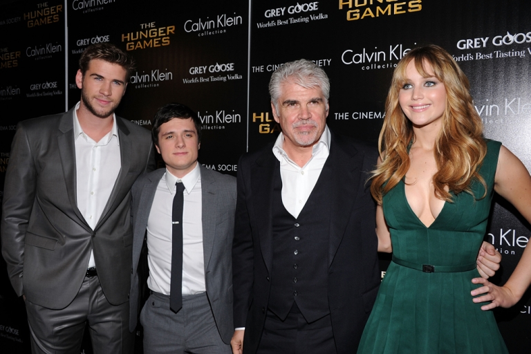 <p>Liam Hemsworth, Josh Hutcherson, Director Gary Ross and Jennifer Lawrence attend the Cinema Society &amp; Calvin Klein Collection screening of