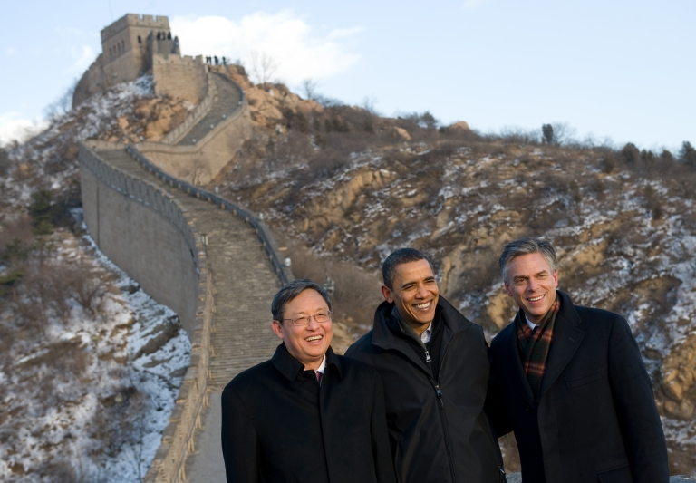 <p>John Huntsman, US Ambassador to China at the time, with US President Barack Obama and Chinese Ambassador to the US Zhou Wenzhong. At the Great Wall of China in Badaling, outside of Beijing, China on November 18, 2009.</p>