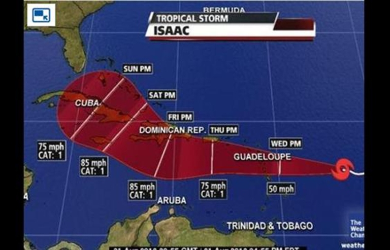 <p>Tropical Storm Isaac on a projected path to Florida. The storm is expected to become a hurricane by Thursday.</p>