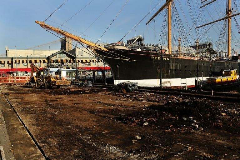 <p>A pier damaged by Hurricane Sandy Dec. 3, 2012 in New York City, NY.</p>