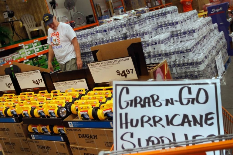 <p>Stocking up on hurricane supplies in West Palm Beach, Florida.</p>