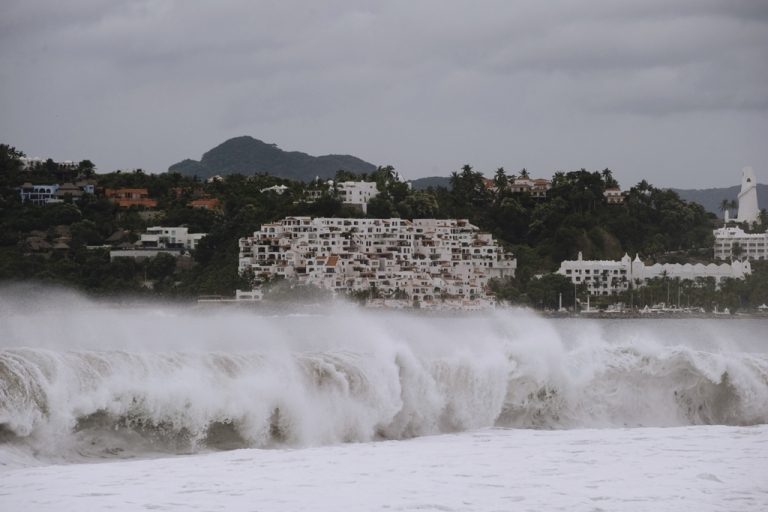 <p>This picture of the waves at the Las Brisas beach in Manzanillo, Colima State, Mexico, was taken on October 10, 2011.</p>