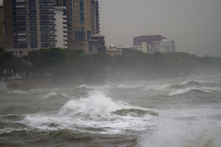 <p>Big waves caused by hurricane Sandy along the south coast of Santo Domingo on October 24, 2012.</p>