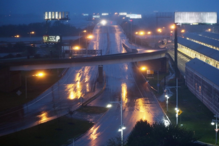 <p>ATLANTIC CITY, NJ - OCTOBER 28: Rain falls on a nearly deserted road ahead of Hurricane Sandy on October 28, 2012 in Atlantic City, New Jersey. Governor Chris Christie's emergency declaration is shutting down the city's casinos and 30,000 residents are being told to evacuate.</p>