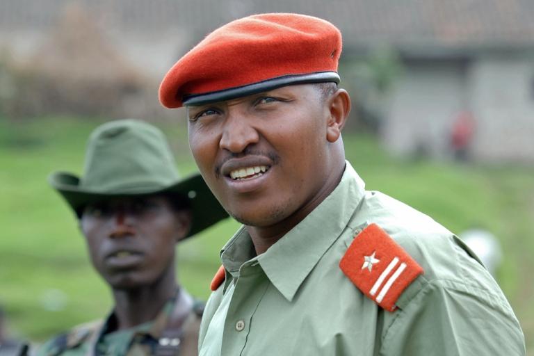 <p>A picture taken on January 11, 2009 shows the leader of the rebels and chief of staff of the National Congress for the Defence of the People (CNDP) General Ntaganda Bosco. The International Criminal Court sought new war crimes charges against him on May 14, 2012.</p>