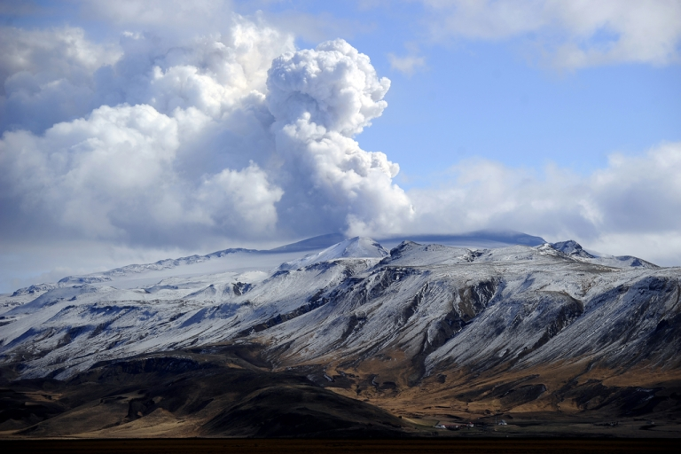 <p>Smoke and ash bellow from Eyjafjallajokull volcano as it is seen from Hvolsvollur, Iceland.</p>
