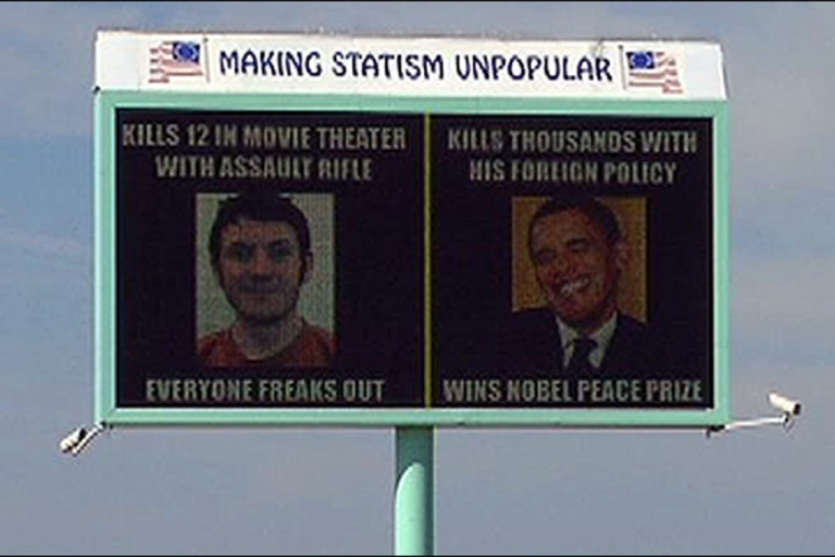 <p>This billboard in Caldwell, Idaho, is drawing criticism for comparing President Obama to Colorado shooting suspect James Holmes.</p>