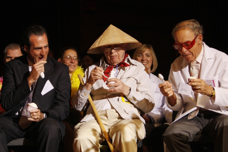 <p>Real Nobel Laureates Craig Mello (L), Roy Glauber (C) and Dudley Herschbach (R) sample ice cream at the 2007 Ig Nobel Prize ceremony, October 4, 2007, at Harvard University in Cambridge, Massachusetts.</p>