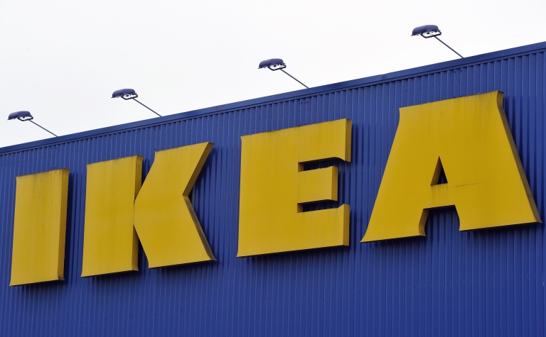 <p>A picture taken on February 29, 2012 shows the front of the Ikea store on February 29, 2012 in Lomme, northern France. IKEA plans to begin selling entertainment units with built-in TVs in France beginning this summer.</p>