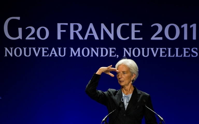 <p>IMF Managing Director Christine Lagarde reacts as she attends a press conference during the second day of the G20 Summit on November 4, 2011 in Cannes, France. World's top economic leaders attended the G20 summit in Cannes on November 3rd and 4th, and debated current issues surrounding the global financial system in the hope of fending off a global recession and finding an answer to the Eurozone crisis.</p>