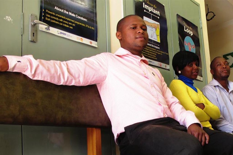 <p>In the waiting room at the long-established Family Life Association of Swaziland (FLAS), which begun promoting and offering adult male circumcision in 2006.</p>