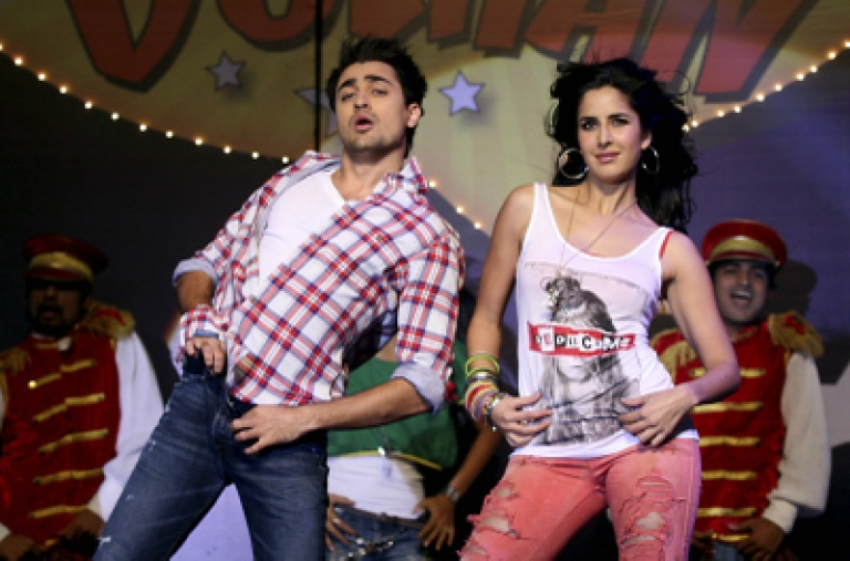 """<p>Indian Bollywood actor Imran Khan (L) and actress Katrina Kaif take part in a dance performance during the music launch for the forthcoming Hindi film """"Mere Brother Ki Dulhan"""" in Mumbai late August 9, 2011.</p>"""